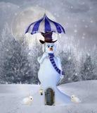 Muñeco de nieve surrealista con un paraguas libre illustration