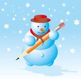 Muñeco de nieve - tarjeta de la rotura del invierno Imagen de archivo libre de regalías