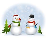 Muñeco de nieve travieso Fotografía de archivo libre de regalías