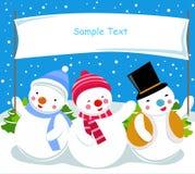 Muñeco de nieve tres y bandera Imagenes de archivo