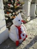Muñeco de nieve triste, Kamenets Podolskiy, Ucrania Imágenes de archivo libres de regalías