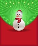 Muñeco de nieve verde rojo de la enhorabuena de la Navidad Imagen de archivo libre de regalías