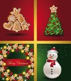 Muñeco de nieve w del pan de jengibre del árbol de Windows de las tarjetas de Navidad Imagen de archivo