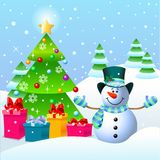 Muñeco de nieve y árbol de navidad Imagen de archivo libre de regalías