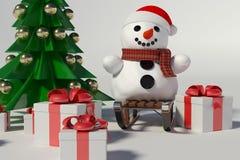 Muñeco de nieve y árbol de navidad Imágenes de archivo libres de regalías