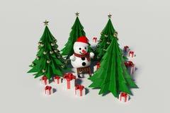 Muñeco de nieve y árbol de navidad Imagenes de archivo