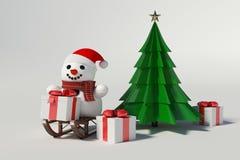 Muñeco de nieve y árbol de navidad Foto de archivo