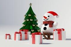 Muñeco de nieve y árbol de navidad Foto de archivo libre de regalías