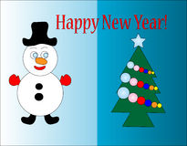 Muñeco de nieve y árbol de navidad fotografía de archivo libre de regalías