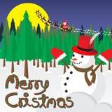 Muñeco de nieve y árbol de navidad Santa Claus en trineo con el reno Foto de archivo libre de regalías