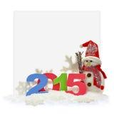 Muñeco de nieve y Año Nuevo 2015 Imagenes de archivo