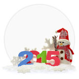 Muñeco de nieve y Año Nuevo 2015 Fotografía de archivo libre de regalías