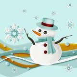 Muñeco de nieve y copos de nieve con remolino Fotografía de archivo