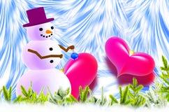 Muñeco de nieve y dos corazones rojos Foto de archivo libre de regalías