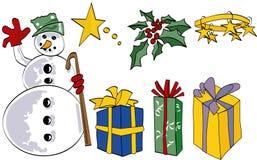 Muñeco de nieve y elementos Imágenes de archivo libres de regalías