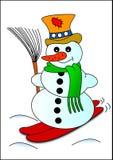 Muñeco de nieve y esquí Foto de archivo libre de regalías