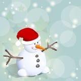 Muñeco de nieve y estrellas Fotos de archivo libres de regalías
