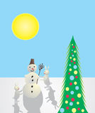 Muñeco de nieve y liebres Fotos de archivo libres de regalías
