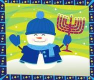 Muñeco de nieve y Menorah Fotografía de archivo libre de regalías
