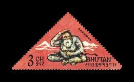 muñeco de nieve y montañas, Bhután, circa 1966, Foto de archivo libre de regalías