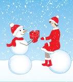 Muñeco de nieve y muchacha Fotografía de archivo libre de regalías