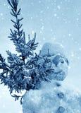 Muñeco de nieve y nieve Imagenes de archivo