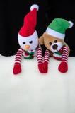 Muñeco de nieve y oso de peluche Imagenes de archivo