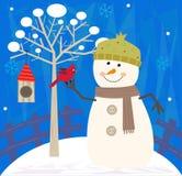 Muñeco de nieve y pájaro stock de ilustración