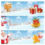Muñeco de nieve y Papá Noel Foto de archivo