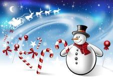 Muñeco de nieve y Papá Noel Fotografía de archivo libre de regalías