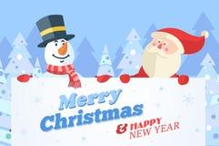 Muñeco de nieve y Papá Noel con la bandera Antecedentes del vector de la Navidad libre illustration