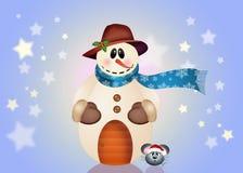 Muñeco de nieve y pequeño ratón Imagen de archivo