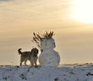Muñeco de nieve y perro en invierno Fotos de archivo libres de regalías