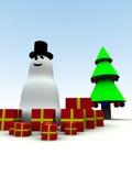 Muñeco de nieve y regalos de Navidad Imágenes de archivo libres de regalías