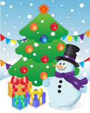 Muñeco de nieve y regalos en el árbol de navidad stock de ilustración