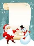 Muñeco de nieve y Santa stock de ilustración