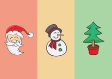 Muñeco de nieve y Santa Claus del árbol de navidad Fotografía de archivo