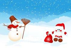 Muñeco de nieve y Santa con el marco del hielo stock de ilustración