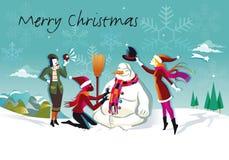 Muñeco de nieve y tres muchachas Fotografía de archivo libre de regalías
