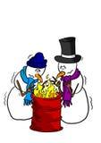 Muñecos de nieve alrededor de un fuego Foto de archivo libre de regalías