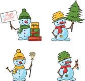 Muñecos de nieve con el árbol, decoraciones de Navidad, escoba de la historieta de la Navidad Imagen de archivo libre de regalías