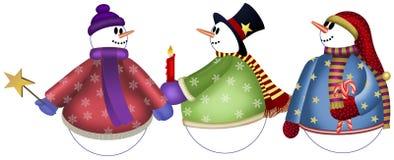 3 muñecos de nieve con el esquema Imagenes de archivo