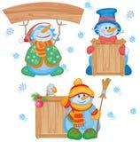 Muñecos de nieve de la diversión para el diseño. Fotos de archivo