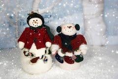 Muñecos de nieve de la Navidad Fotografía de archivo