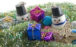 Muñecos de nieve de la Navidad Fotografía de archivo libre de regalías