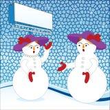 Muñecos de nieve de la señora con el billbord para su entrada de información Foto de archivo