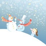 Muñecos de nieve divertidos Imágenes de archivo libres de regalías