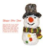 muñecos de nieve divertidos de los niños formados del cartón piedra aislado en blanco Fotografía de archivo