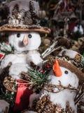 Muñecos de nieve en el mercado de la Navidad de Munich Imagen de archivo
