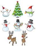 Muñecos de nieve, renos y un árbol de navidad Fotos de archivo libres de regalías